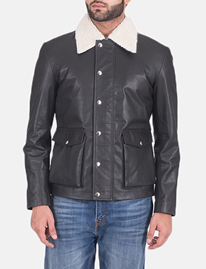 Mens Snow Cole Black Leather Jacket