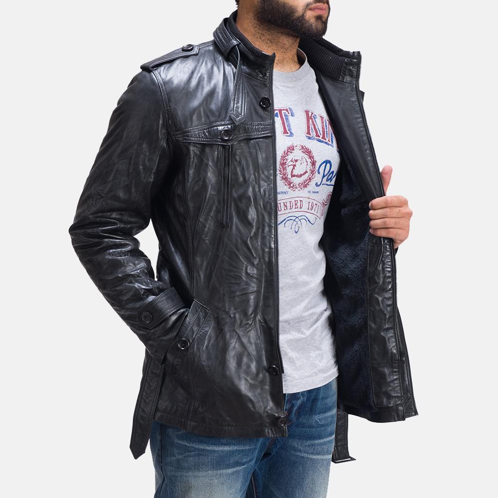 Mens Rumpleskin Black Leather Jacket 4