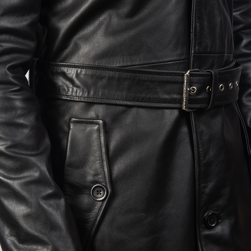 Men's Deux Black Leather Duster
