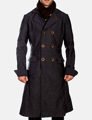 Mens Detective Wool Peacoat