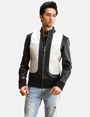 Mens Texan Silver Black Leather Bomber Jacket