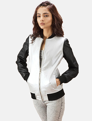 Womens Cole  Silver Leather Bomber Jacket