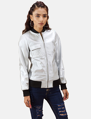 Womens Lana Silver Leather Bomber Jacket