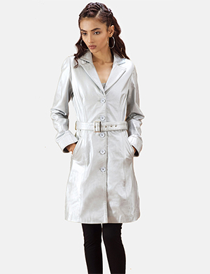 Womens Moonlight Silver Leather Trench Coat