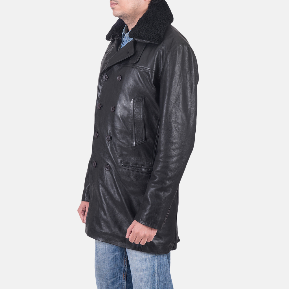 Mens Pierce Shearling Black Leather Jacket 6