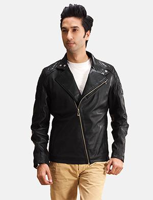 Mens Danny Jargo Quilted Black Leather Biker Jacket