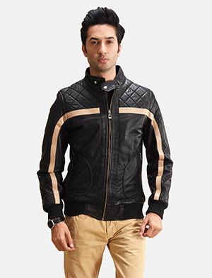Mens Danson  Black Leather Bomber Jacket