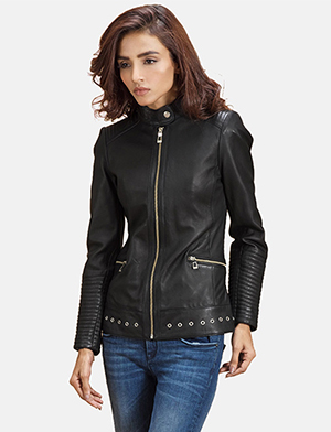 Womens Haley Ray Black Leather Biker Jacket