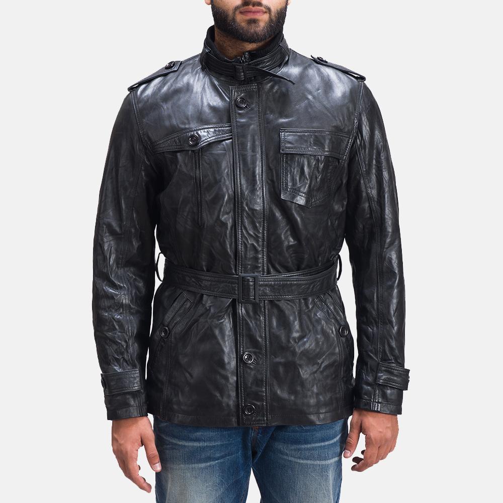 Mens Rumpleskin Black Leather Jacket 2