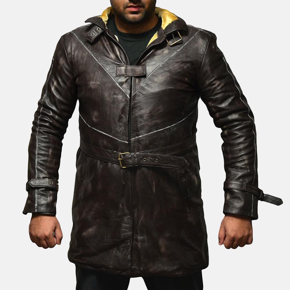 Mens Nixon Distressed Brown Leather Coat 3