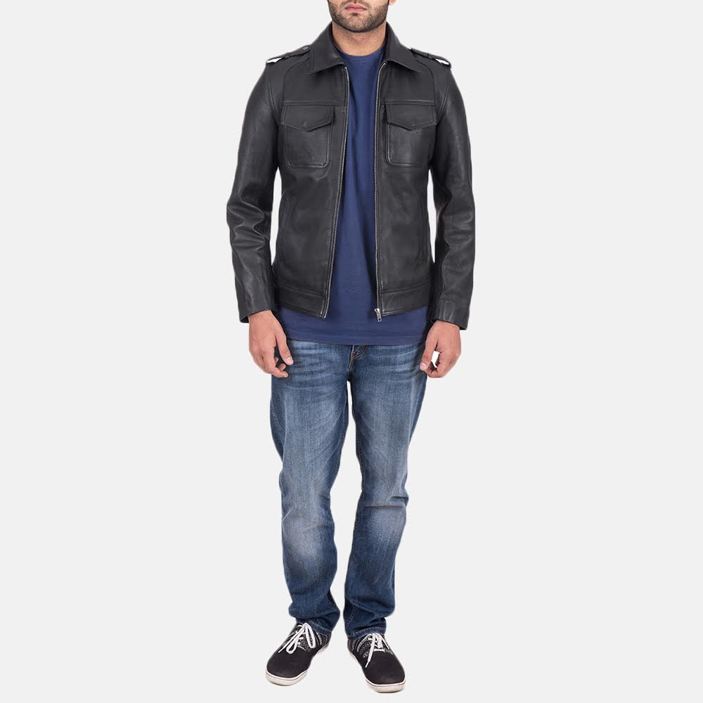 Men's Sergeant Black Leather Jacket 2
