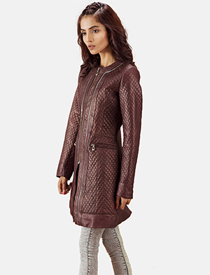 Womens Trudy Lane Quilted Maroon Leather Coat
