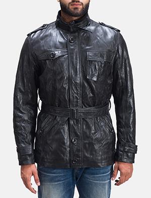 Mens Rumpleskin Black Leather Jacket 1