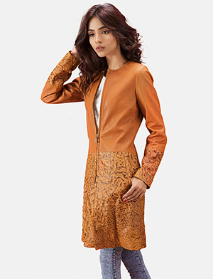 Womens Sandy Tan Dye Leather Coat