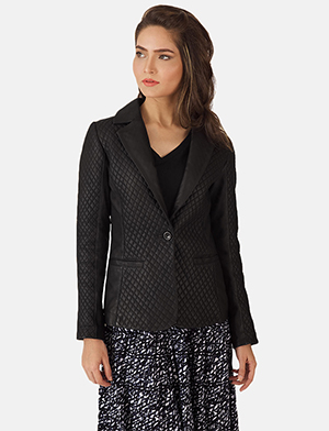 Womens Cora Quilted Black Leather Blazer