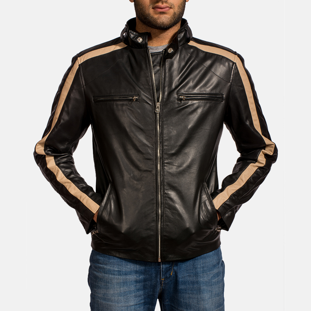 Mens Jack Black Leather Biker Jacket 6