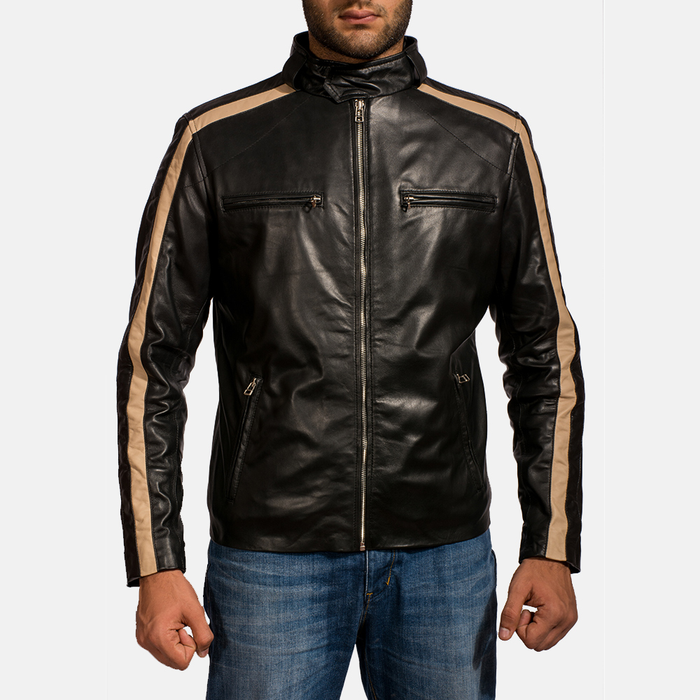 Mens Jack Black Leather Biker Jacket 1