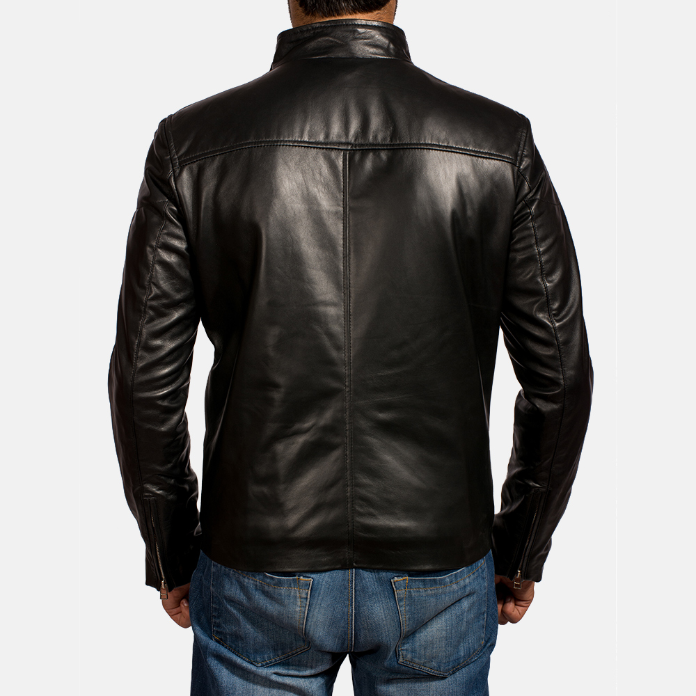 Mens Jack Black Leather Biker Jacket 5