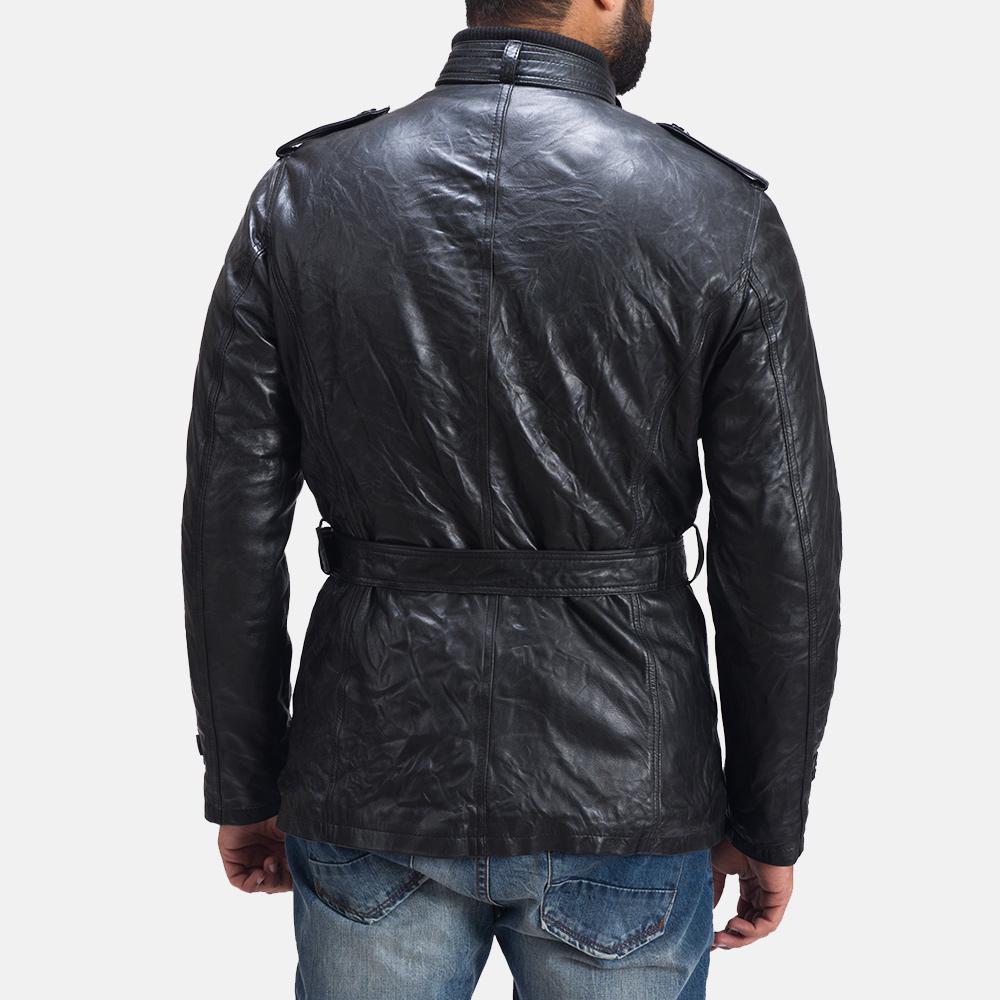Mens Rumpleskin Black Leather Jacket 7