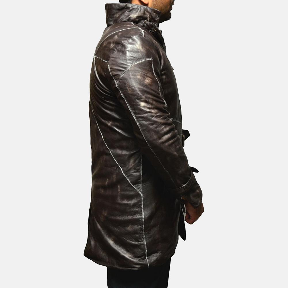 Mens Nixon Distressed Brown Leather Coat 4