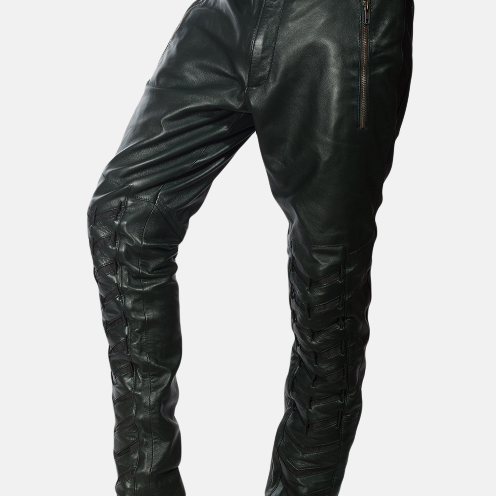 729e13bb34422b Mens Green Leather Pants