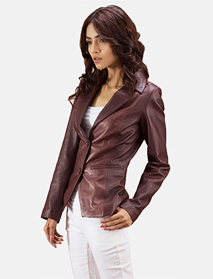 Womens Ruby Metallic Maroon Leather Blazer