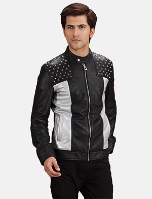 Mens Shapron Studded Leather Biker Jacket