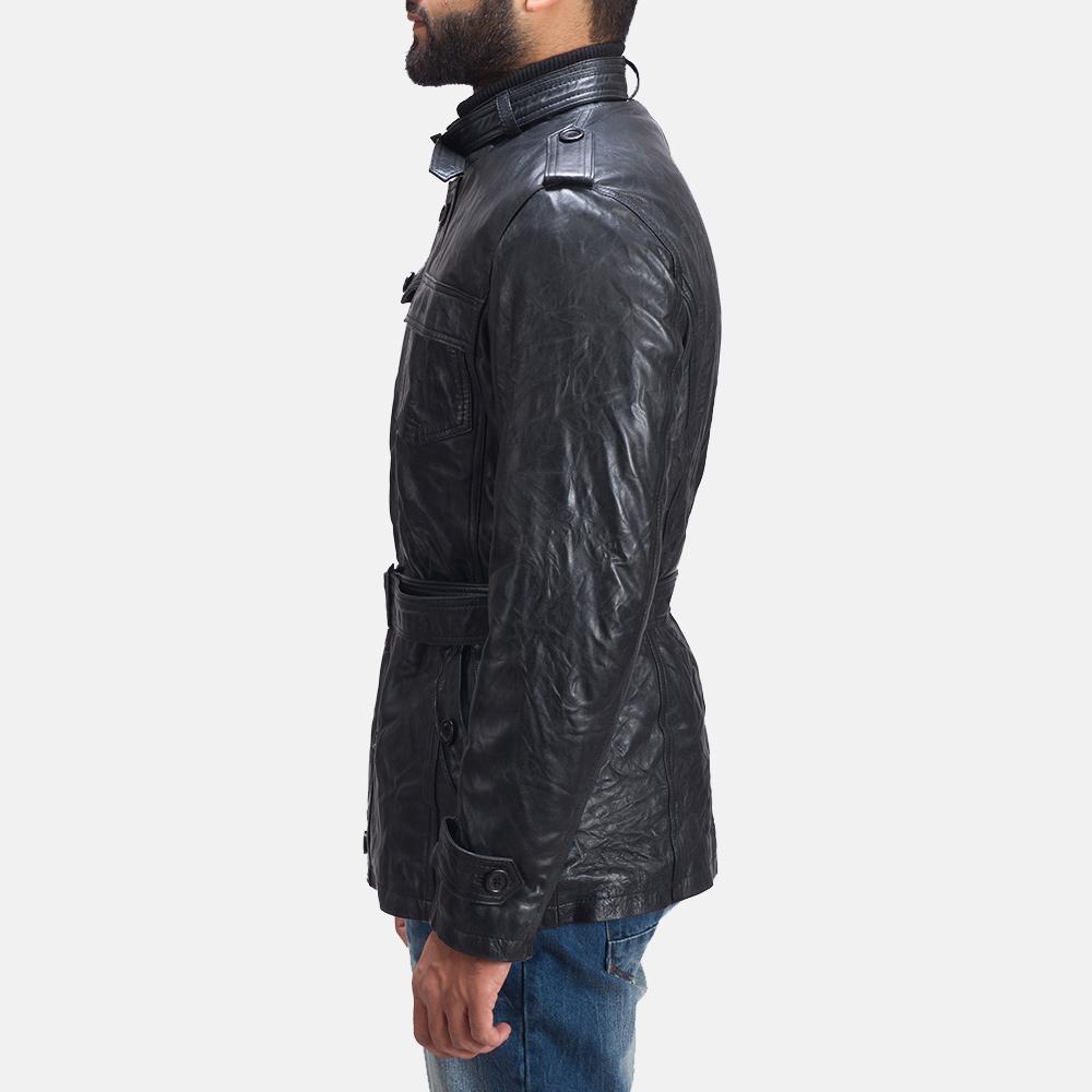 Mens Rumpleskin Black Leather Jacket 6