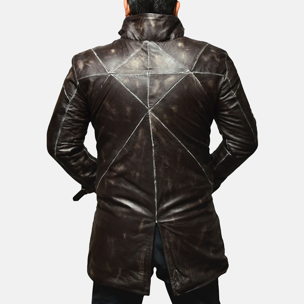 Mens Nixon Distressed Brown Leather Coat 2