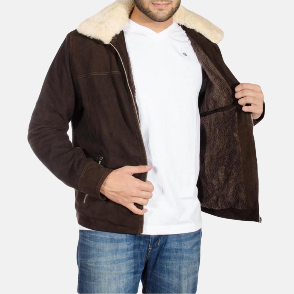 Mens Coffner Brown Shearling Fur Jacket 4