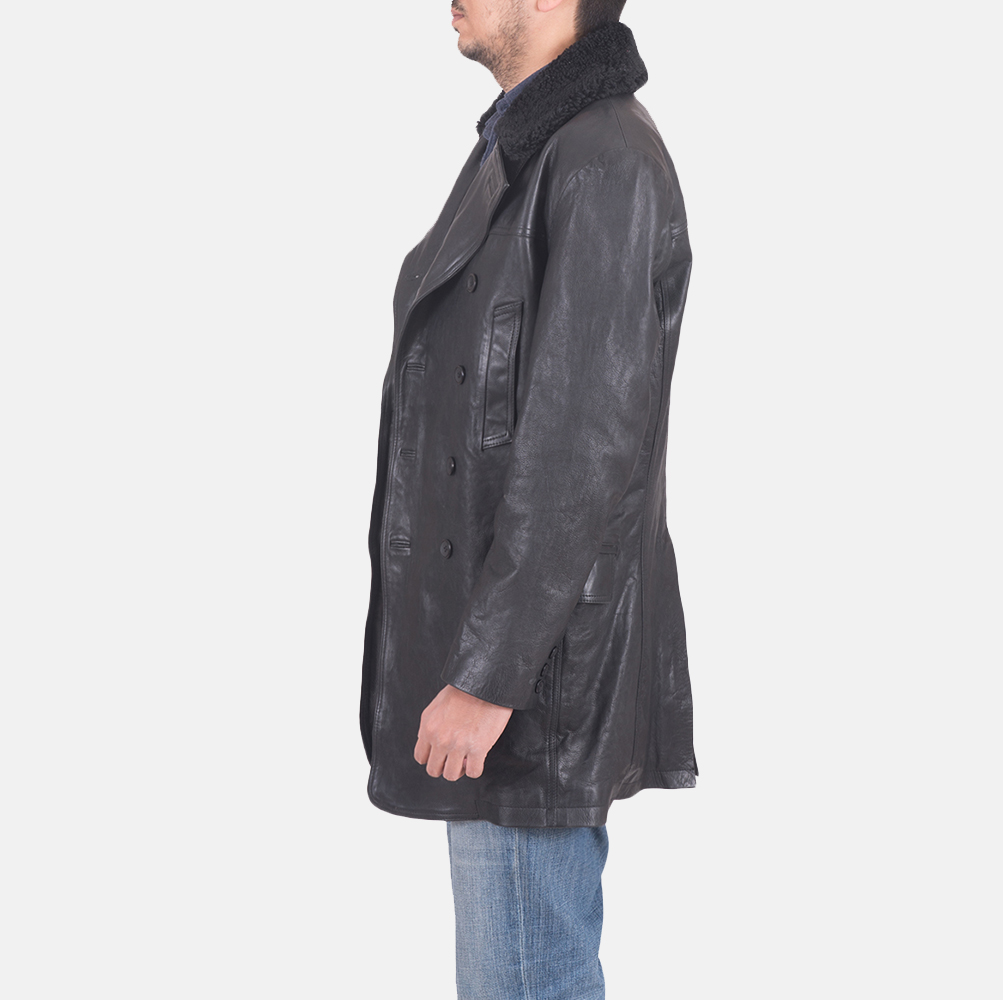 Mens Pierce Shearling Black Leather Jacket 4
