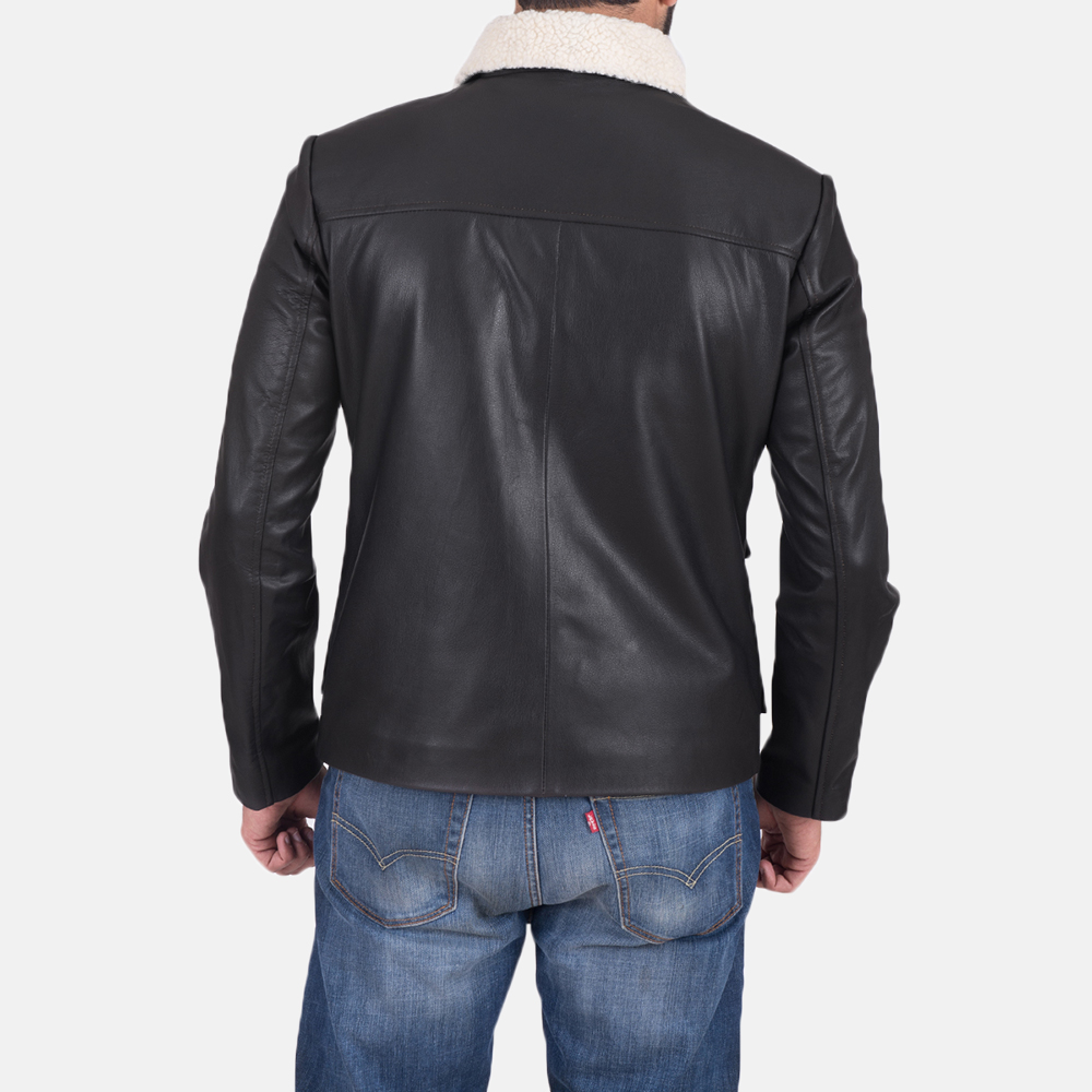 Mens Snow Cole Black Leather Jacket 4