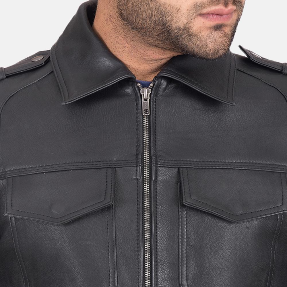 Men's Sergeant Black Leather Jacket 4