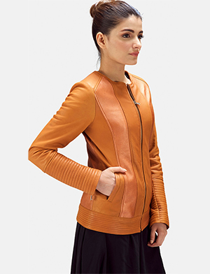 Womens Sleeky Clean Tan Leather Biker Jacket