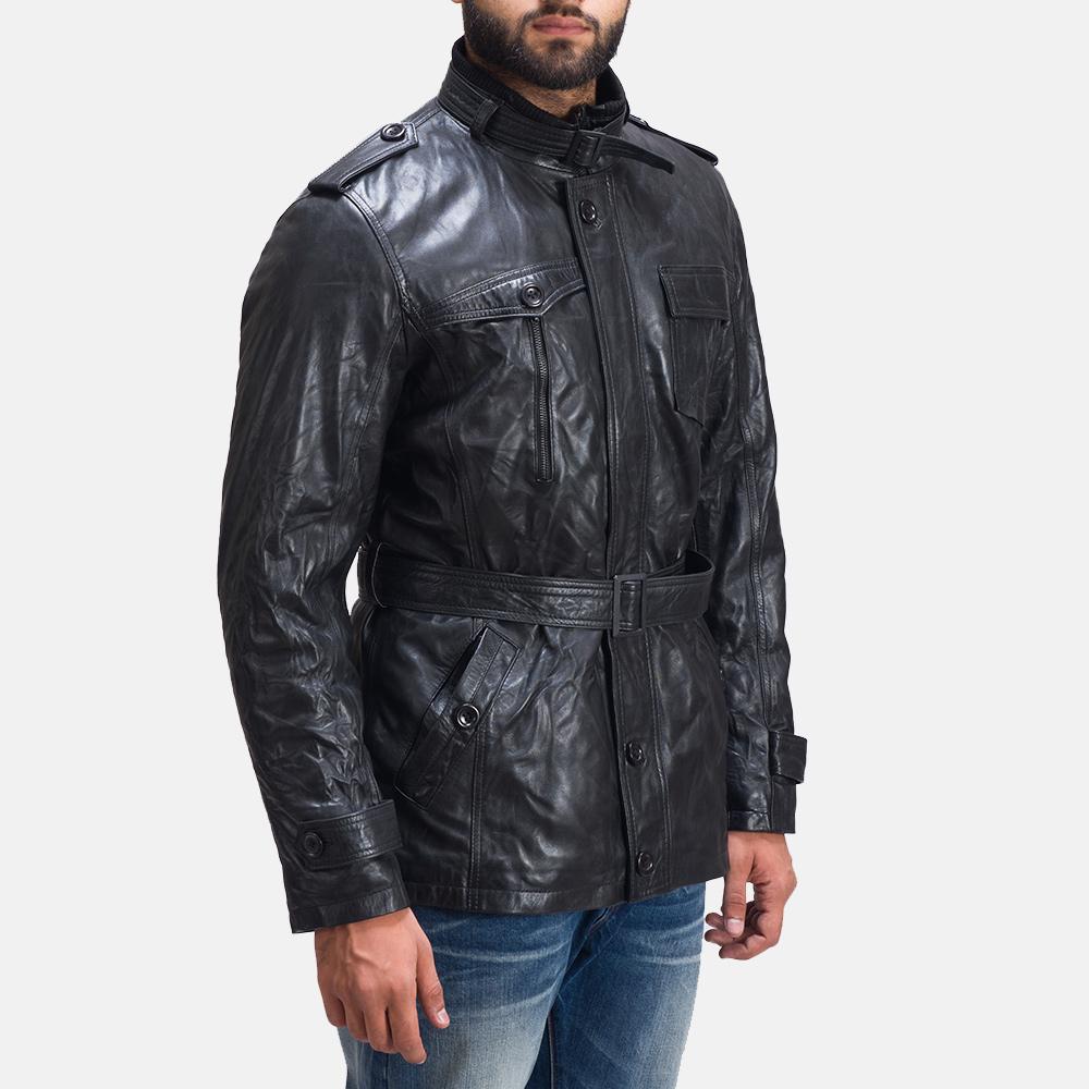 Mens Rumpleskin Black Leather Jacket 5
