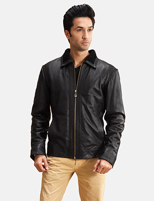 Mens Thackery Black Leather Jacket