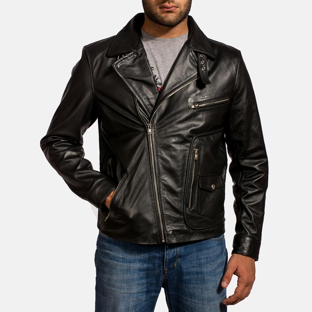 Mens Rocker Black Leather Biker Jacket 2