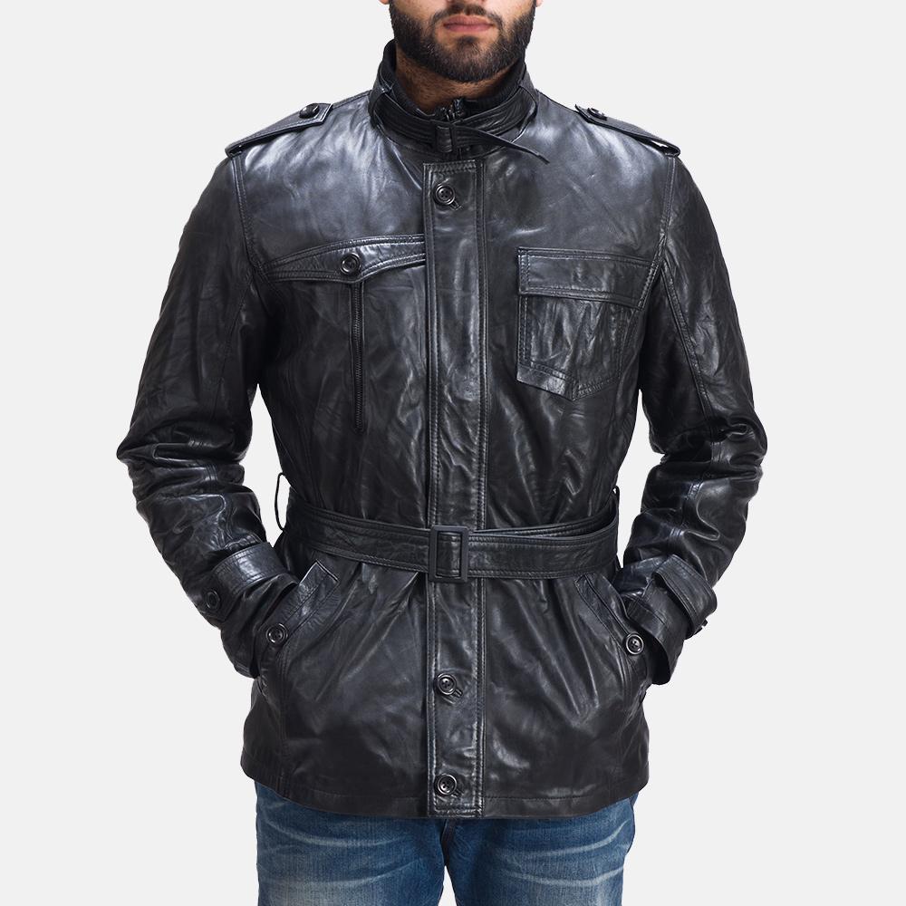 Mens Rumpleskin Black Leather Jacket 3