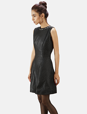 Womens Luxe Black Leather Dress