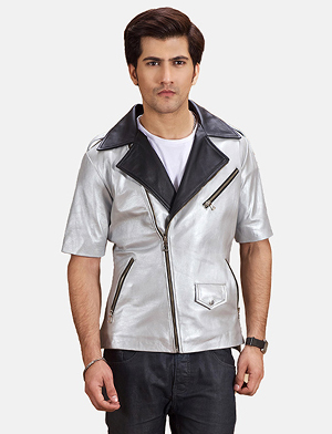 Mens Celestone Silver Black Leather Biker Jacket