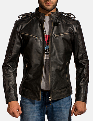 Mens Reckless Black Leather Biker Jacket 1