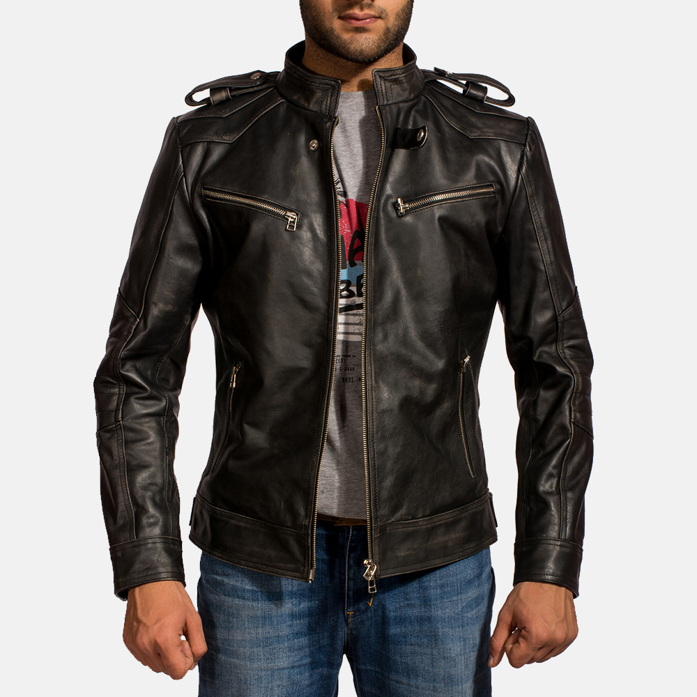 Mens Reckless Black Leather Biker Jacket 2