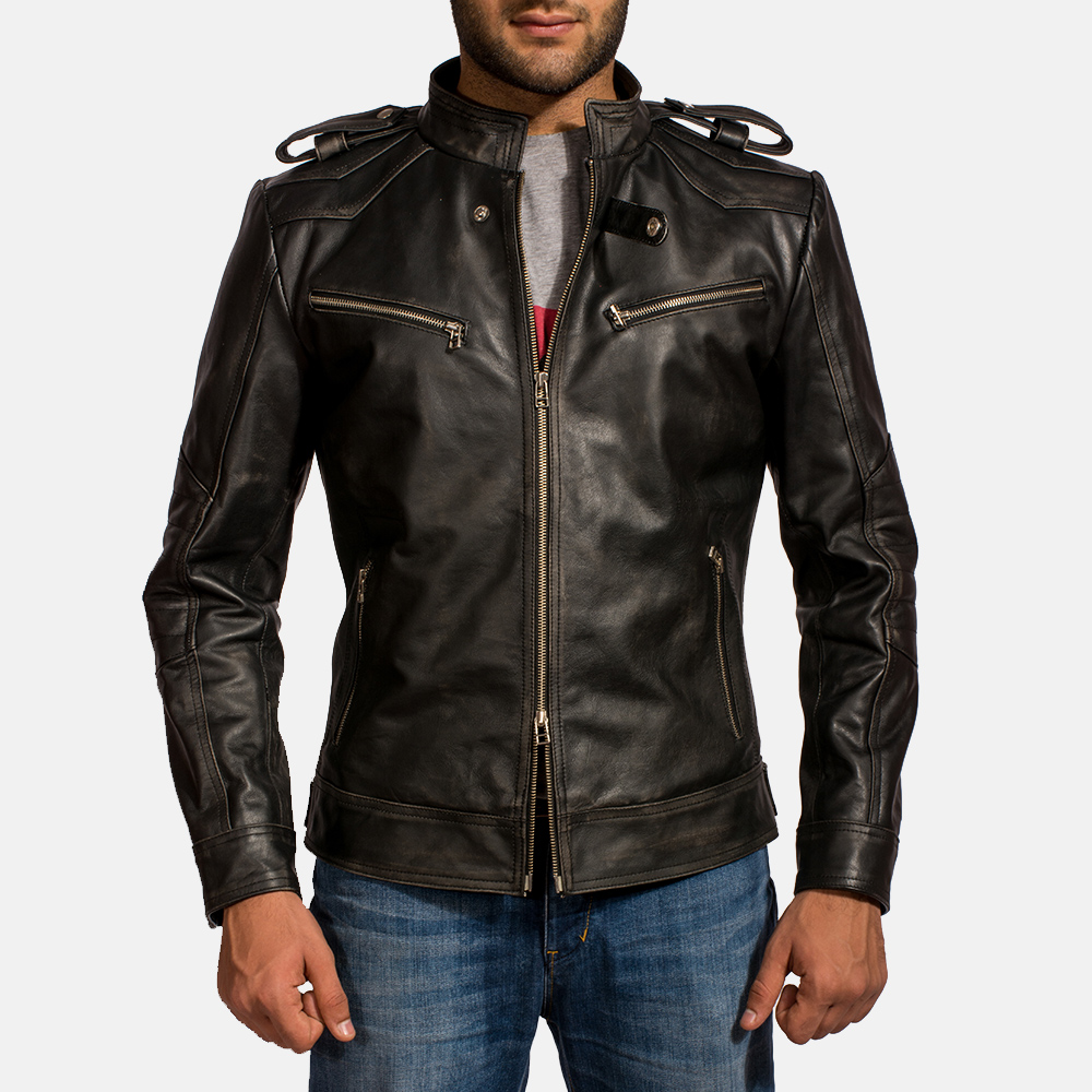 Mens Reckless Black Leather Biker Jacket 3