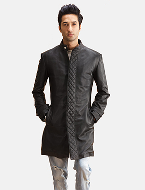 Mens Midlander Quilted Black Leather Coat