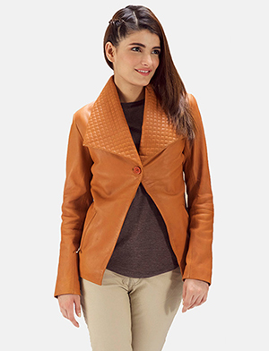 Womens Lee Tan Brown Leather Blazer