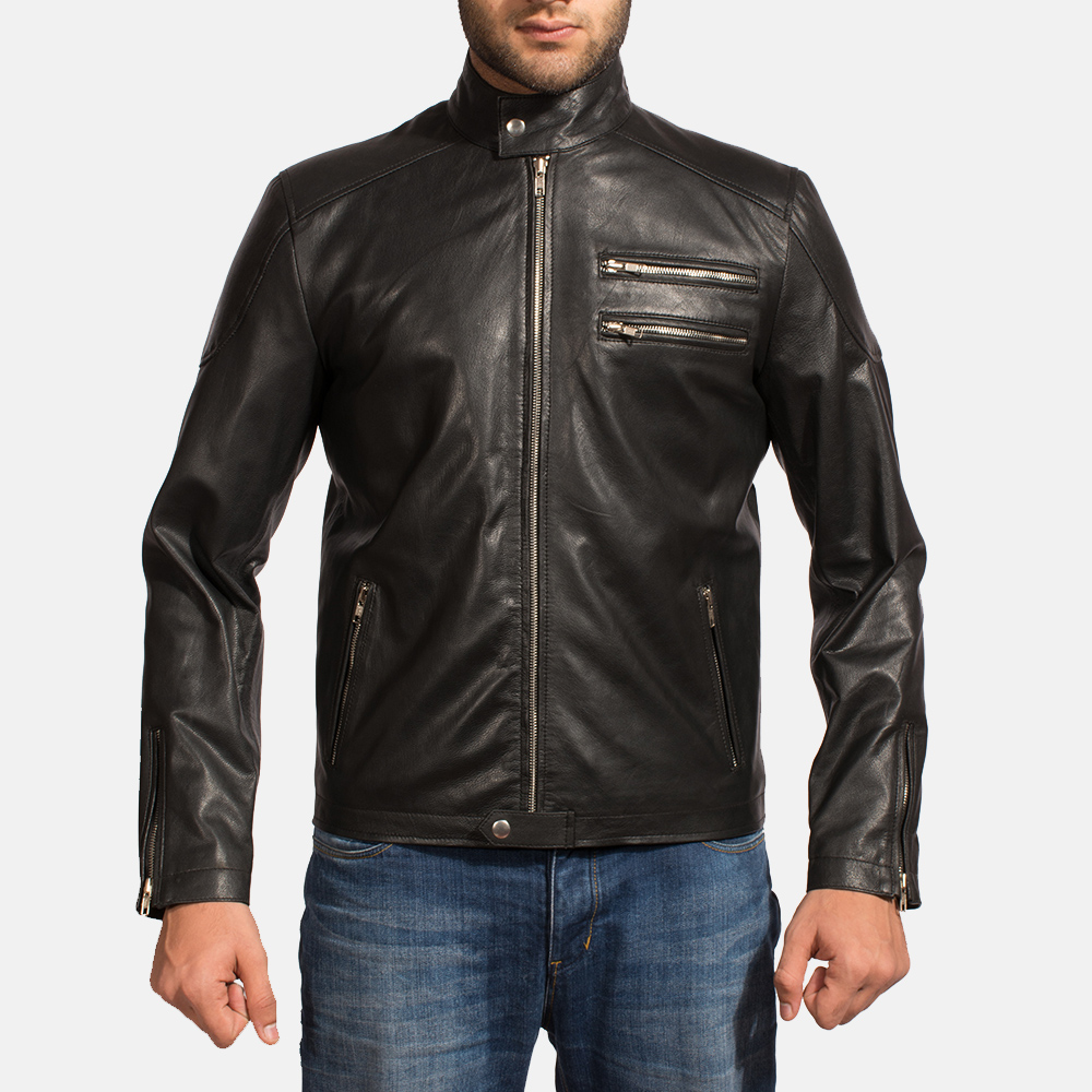 Mens Onyx Black Leather Biker Jacket 1