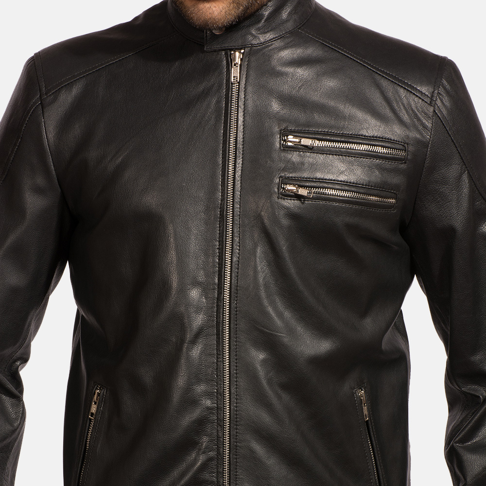 Mens Onyx Black Leather Biker Jacket 3