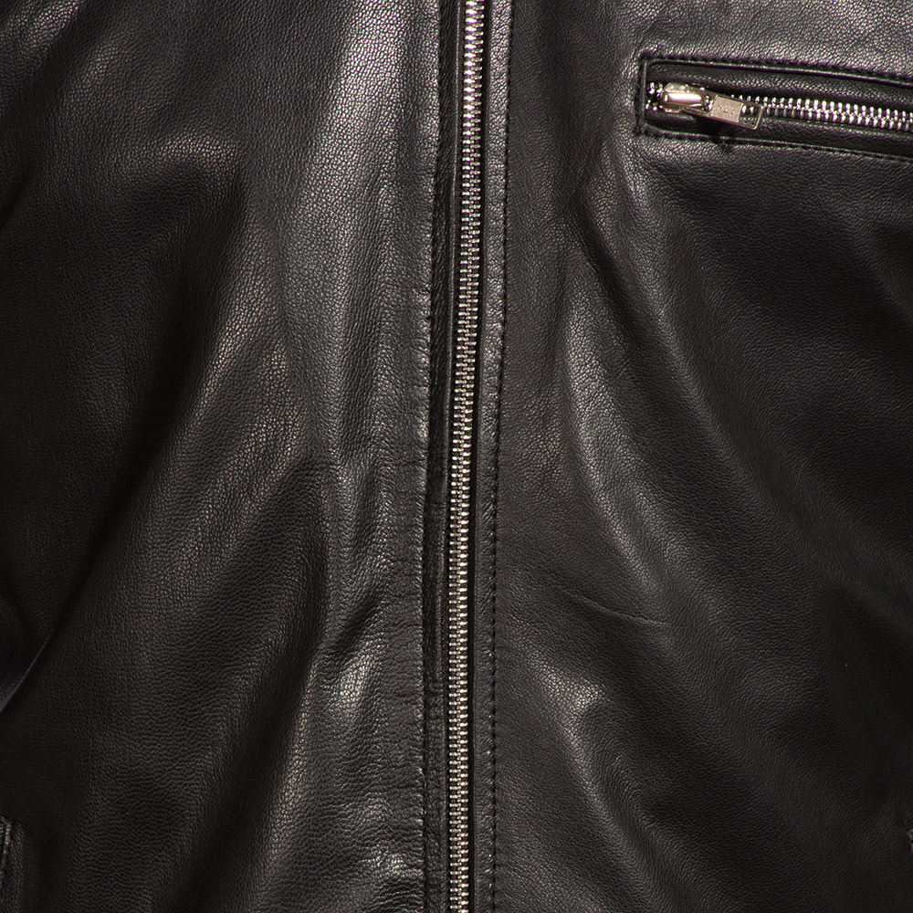 Mens Onyx Black Leather Biker Jacket 6