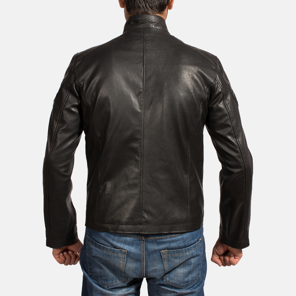 Mens Onyx Black Leather Biker Jacket 5