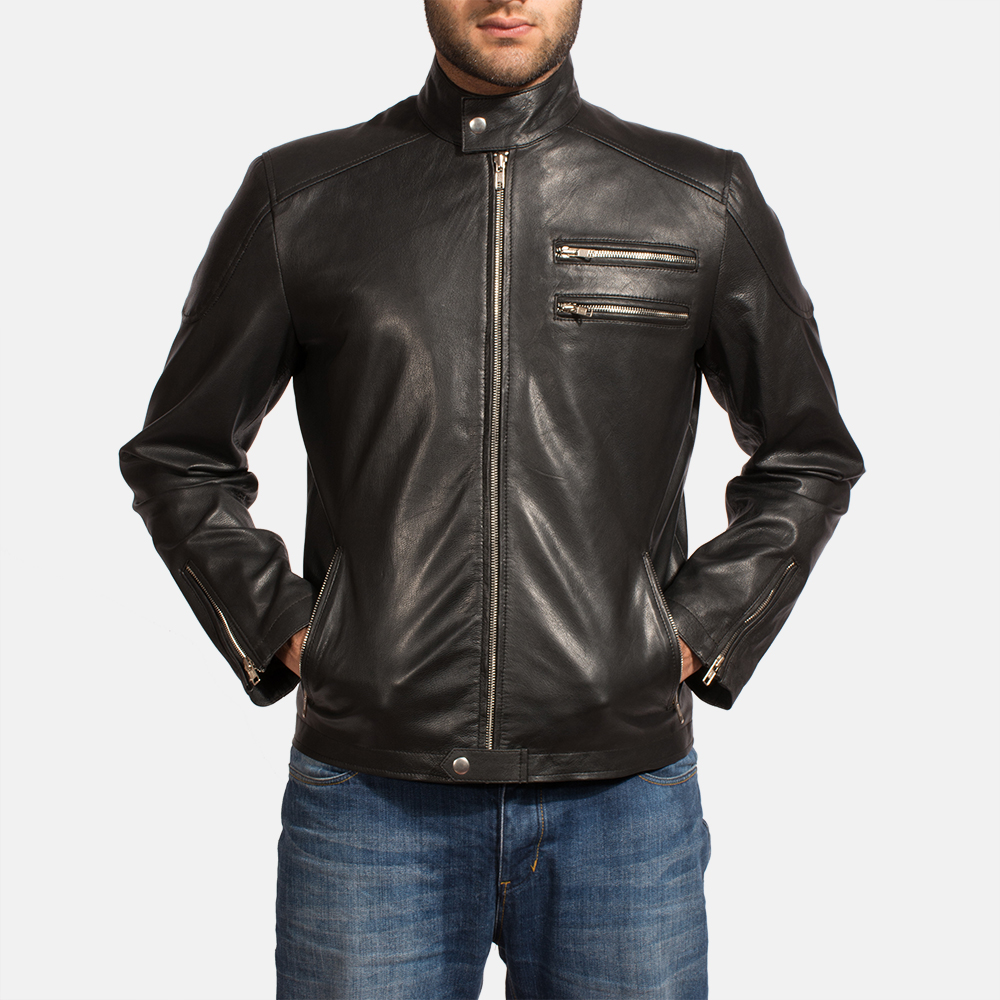 Mens Onyx Black Leather Biker Jacket 2